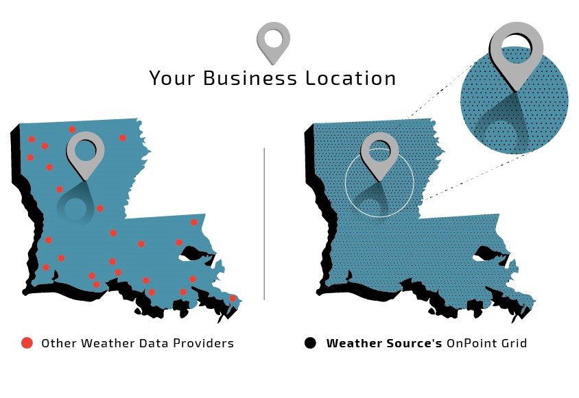 "Depiction of the Weather Source OnPoint grid vs other weather data sources. Most weather data providers rely solely on airport observation station data and simple interpolation methods to extend information from those stations to your location.  Airport observation stations are much farther away from your business location than Weather Source's grid points.   Each point in Weather Source's 5-kilometer high-resolution grid represents a ""virtual"" weather station from which weather data is mapped to your business location. This means your location of interest is closer to a virtual weather station, resulting in more accurate data and predictions."