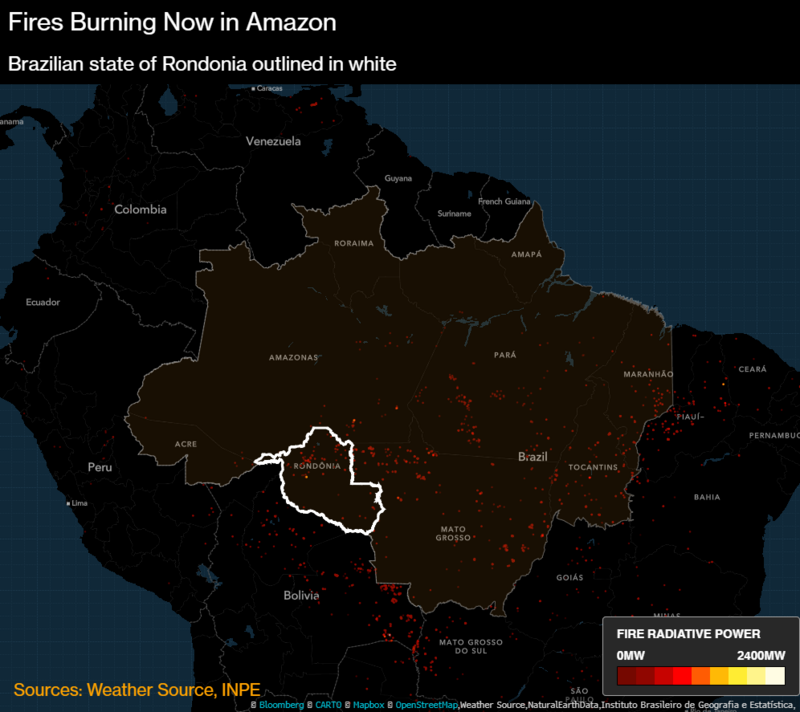 Fires now burning in the Amazon basin